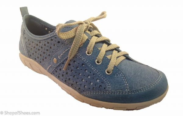 casual summer blue suede leather laced leisure shoe